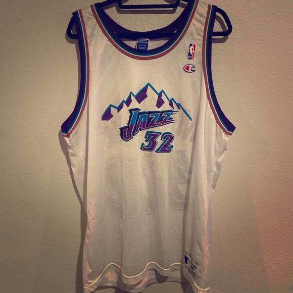size 40 ea002 fa8ea Karl Malone White Utah Jazz Champion Jersey Sz48